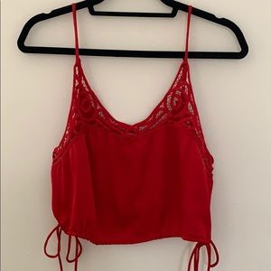 Free People Red Silk Tank Too